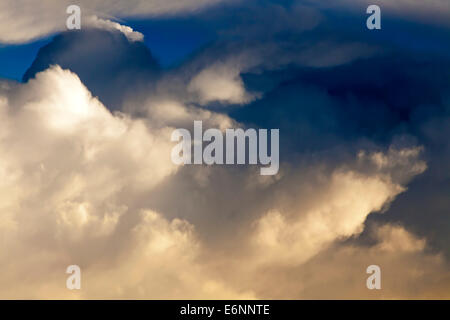 View of cloud formations from aircraft window over Indian Ocean - Stock Photo