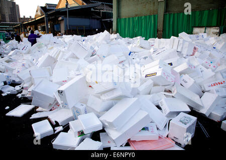 Tsukiji fish market, Tokyo, Japan, Asia, the largest wholesale seafood market in the world. Empty boxes - Stock Photo