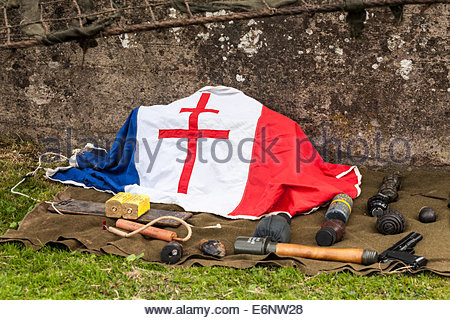 World War Two - Free French Flag and a display of WW2 memorabilia - Stock Photo