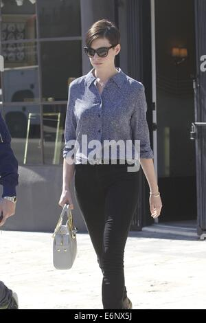 Anne hathaway and husband adam shulman are seen walking in for Hathaway furniture new york