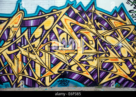 Detroit, Michigan - Graffiti on the wall of an abandoned building ...