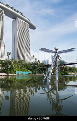 Marina Bay Sands and the Lake - Stock Photo