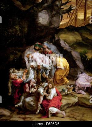 Mise au Tombeau - Entombment by Lelio Orsi 1511-1587 Italy Italian - Stock Photo