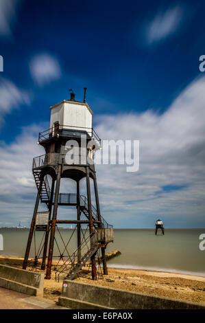 The restored lighthouses of Dovercourt Bay, Essex, UK - Stock Photo