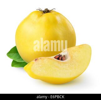 Fresh quince fruit on white background - Stock Photo
