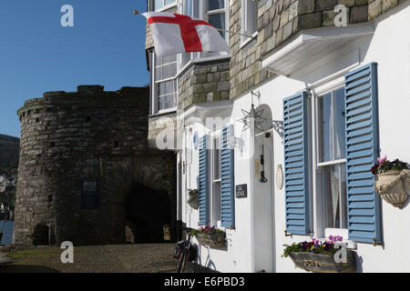 The England flag proudly displayed on St George's Day outside a picturesque house bathed in sunshine at Bayard's - Stock Photo