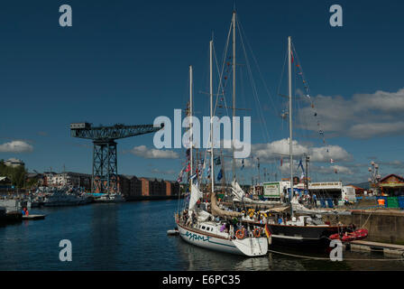 Tall Ships participating in the Tall Ships Races 2011 moored in Greenock  Harbour Scotland - Stock Photo