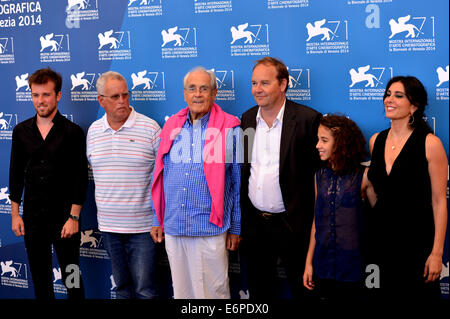 Venice, Lido of Venice. 28th Aug, 2014. Actress Nadine Labaki (1st R), director Xavier Beauvois (3rd R) and other - Stock Photo