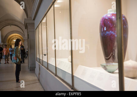 Display of recent additions of pottery in the Metropolitan Museum of Art in New York - Stock Photo