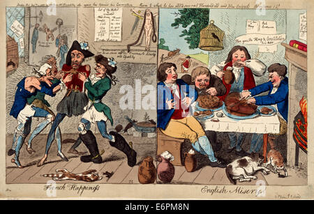 French happiness - English misery.  Print shows, on the left, four ragged and starving sansculottes fighting over - Stock Photo