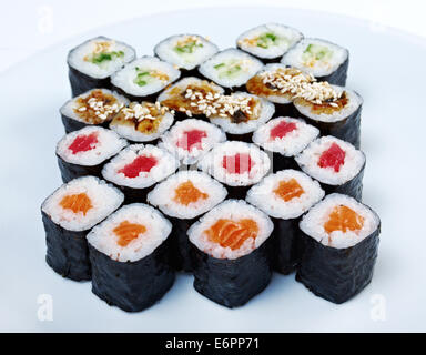 Japanese sushi.Roll  sat made salmon, eel, tuna, vegetables - Stock Photo
