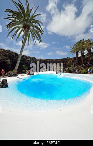 Pool in the lava cave 'Jameos del Agua', designed by Cesar Manrique, Lanzarote, Canary Islands, Spain - Stock Photo