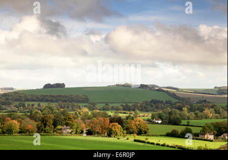 A view of the Wylye Valley in Wiltshire, England, including the villages of Corton and Upton Lovell. - Stock Photo