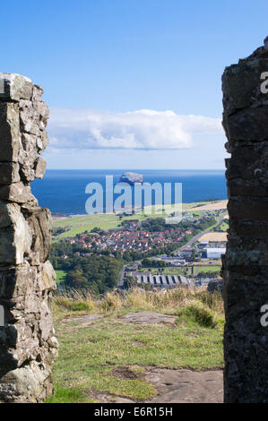 View of Bass Rock from the old lookout station on top of Berwick Law, North Berwick, East Lothian, Scotland, Europe - Stock Photo