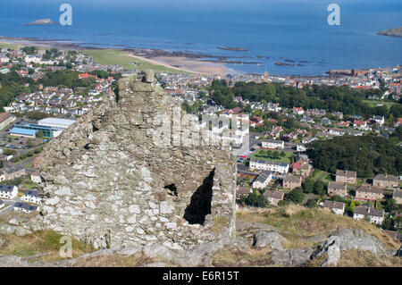 View of North Berwick from Berwick Law, East Lothian, Scotland, Europe - Stock Photo