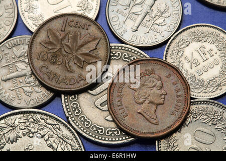 1 Penny Coin Queen Elizabeth Ii Uk 1967 Stock Photo