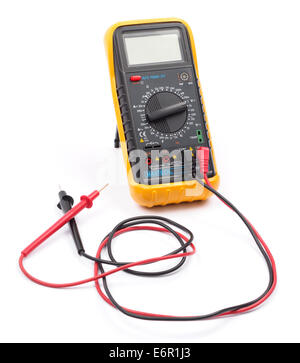 Digital multimeter cut out isolated on white background - Stock Photo