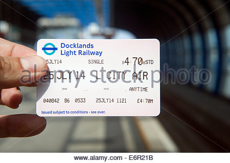 London UK  Ticket for the Docklands light railway. - Stock Photo