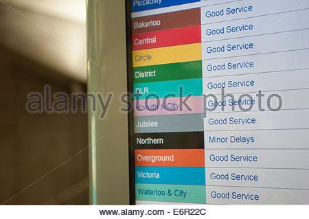London UK London UK  Service Update on the London Underground Good service on all routes. - Stock Photo