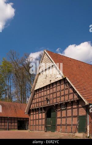 half-timbered barn, neuenkirchen-vörden, vechta district, oldenburger münsterland, lower saxony, germany