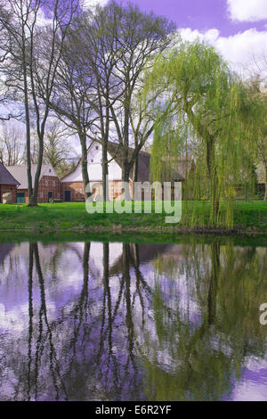 half-timbered barn, carum, vechta district, oldenburger münsterland, lower saxony, germany