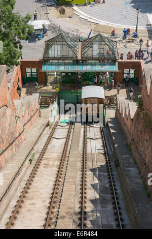 Budapest Castle Hill funicular railway from Adam Clark Square - Stock Photo