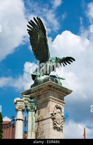 Turul Statue on Habsburg Gates in Budapest - Stock Photo