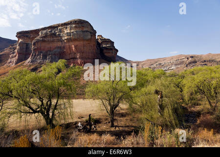Brandwag Buttress Sandstone mountains at the Golden Gate area of the Freestate in South Africa - Stock Photo