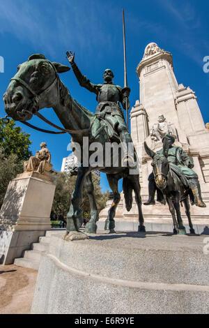 Bronze sculptures of Don Quixote and Sancho Panza, Plaza de Espana, Madrid, Comunidad de Madrid, Spain - Stock Photo