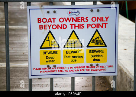Safety sign, Southwold harbour, Suffolk, UK - Stock Photo