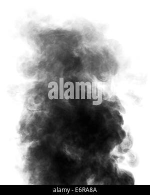 Black steam looking like smoke isolated on white background. Big cloud of black smoke. - Stock Photo