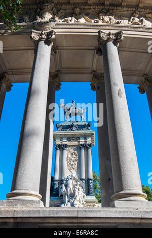 Monument to Alfonso XII, Buen Retiro Park, Madrid, Comunidad de Madrid, Spain - Stock Photo