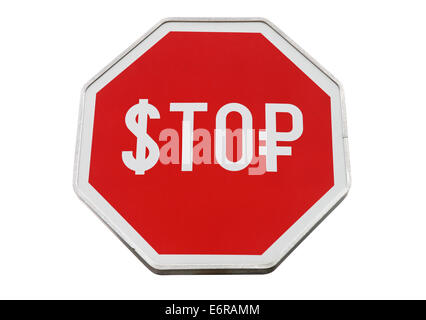 Finance concept with USD and Russian money as a stop road sign isolated on white - Stock Photo