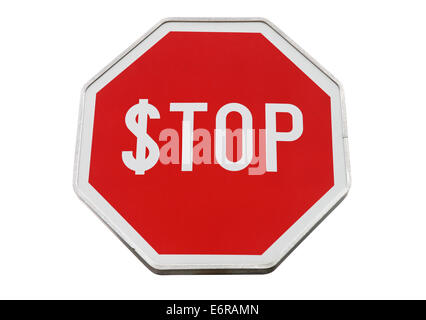 Finance concept with USD and stop label on road sign isolated on white - Stock Photo