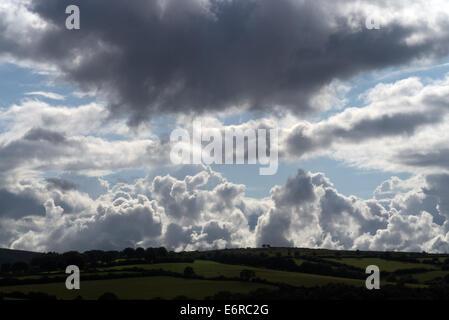 Cumulonimbus clouds over Exmoor, Somerset, England - Stock Photo