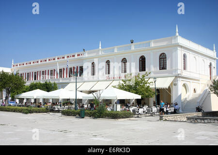 ZAKYNTHOS, GREECE - OCTOBER 4: Cafe terraces and greece buildings on the Solomos Square on October 4, 2011 in Zakynthos, - Stock Photo