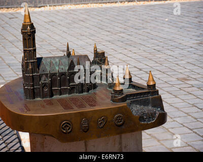 Bronze Model of St Matthias Church in the Castle District of Buda in Budapest Hungary - Stock Photo