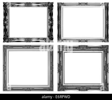 Black picture frame isolated on a white background. - Stock Photo