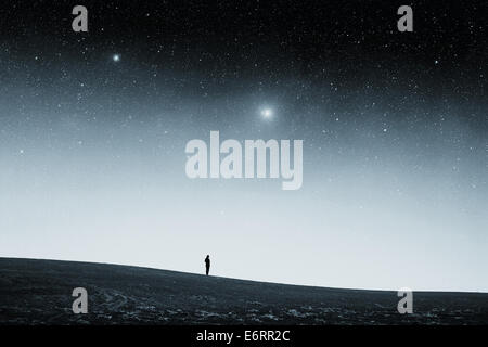 field at night. Elements of this image furnished by NASA - Stock Photo