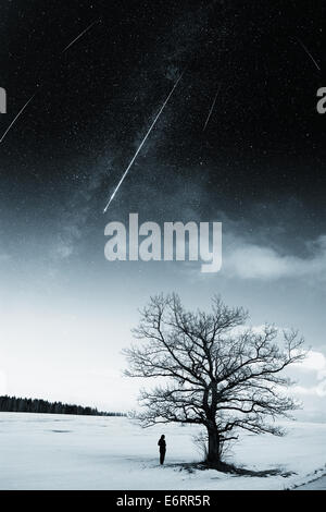 starry sky in winter. Elements of this image furnished by NASA - Stock Photo