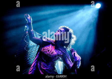 Toronto, Ontario, Canada. 29th Aug, 2014. Singer/musician REGINE CHASSAGNE on stage as Canadian indie rock band - Stock Photo