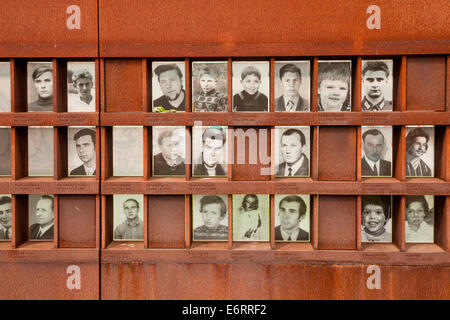 pictures of wall victims at the Gedenkstätte Berliner Mauer or Berlin Wall Memorial in Berlin, Germany, Europe - Stock Photo