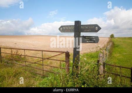 Footpath sign on the Ridgeway long distance footpath near Bishopstone, Wiltshire, England - Stock Photo