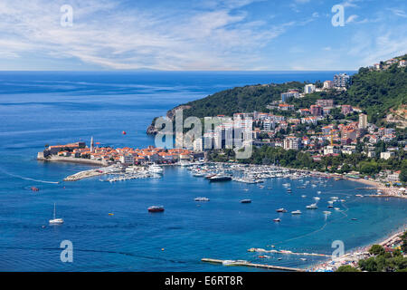 Top view of the seacoast of Budva, Montenegro. - Stock Photo