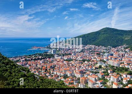 Top view of the seacoast of Budva, Montenegro. - Stock Photo