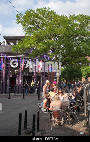 Gay Bar in Gay Village, Canal Street, Manchester, England, UK - Stock Photo