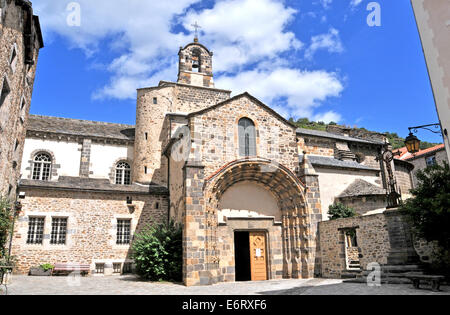 The Romanesque church of Saint-Pierre in the medieval city of Blesle, Haute Loire, Auvergne, France - Stock Photo