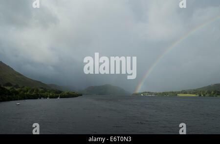 Rainbow on Ullswater,Cumbria England UK credit: LEE RAMSDEN / ALAMY - Stock Photo