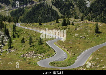 Col de la lombarde, Sign of Italy in the mountain, at the border between Cuneo, Piedmont, in Italy and the station - Stock Photo