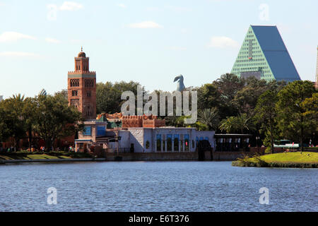 Epcot Center, view of the Morocco paviling with The Dolphin Hotel in the back. - Stock Photo
